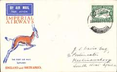 (South Africa) F/F Pietersburg to Keetmanshoop, SWA, bs 2/2, carried by IAW to Johanesburg 1/2, then by SWAA to Keetmanshoop, souvenir Springbok cover franked 4d air.