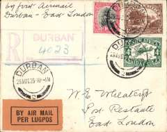 (South Africa) Durban to East London, b/s 20/8, registered (hs) PC flown on F/F  Regular Airmail Service in South Africa, carried by Gipsy Moth, Union Airways