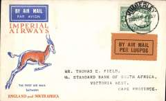 (South Africa) Kimberley to Victoria West, bs 21/12, carried on Imperial Airways Special Christmas Airmail Flight, Springbok souvenir cover franked 4d.