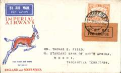 (South Africa) Interrupted flight KImberley to Moshi, bs 7/2, carried on first regular flight Cape Town-London, left Cape Town January 27 but forced down at Broken Hill, Northern Rhodesia, delayed 7 days, Springbok cover, Imperial Airways.