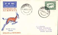 (South Africa) F/F Kimberley to Victoria West, bs, carried on the Imperial Airways inaugural Cape Town-London service, Springbok souvenir cover franked 4d.