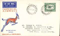 (South Africa) F/F Victoria West to Cape Town, bs, carried on the Imperial Airways inaugural Cape Town-London service, Springbok souvenir cover franked 4d.