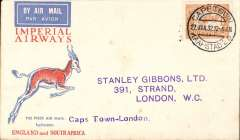 (South Africa) Cape Town to London, no arrival ds, carried on F/F Regular Service Cape Town/Croydon, Springbok cover, Imperial Airways