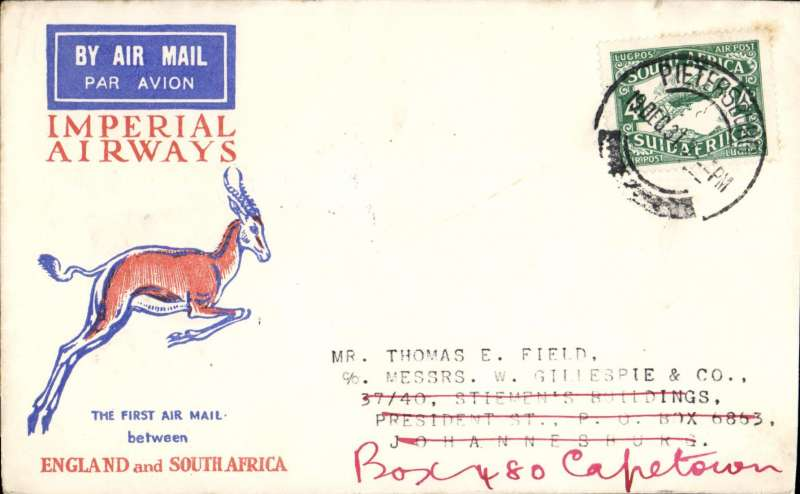 (South Africa) Pietersburg to Johannesburg, bs 21/12, carried on Imperial Airways Special Christmas Flight,  Springbok cover, Imperial Airways