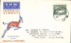 (South Africa) Cover flown, Pietersburg to Cape Town 21/12, on First Christmas Flight, via Joburg 21/12, Springbok cover, Imperial Airways.