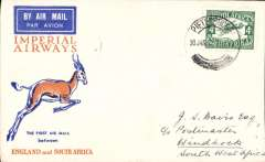 (South Africa) F/F Pietersburg to Wyndham, bs2/2, carried by IAW to Johanesburg 1/2, then by SWAA to Keetmanshoop, souvenir Springbok cover franked 4d air.