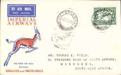 (South Africa) F/F Victoria West to Windhoek, SWA, bs 24/12, souvenir Springbok cover franked 4d, Imperial Airways Special Christmas Flight and F/F SWAA KImberley-Windhoek feeder service.