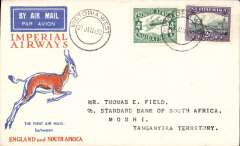(South Africa) Interrupted flight Victoria West to Moshi, bs 7/2, via Mbey 6/2, carried on first regular flight Cape Town-London, left Cape Town January 27 but forced down at Broken Hill, Northern Rhodesia, delayed 7 days, Springbok cover, Imperial Airways.