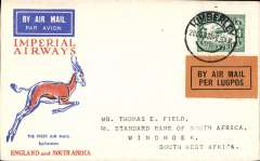 (South Africa) F/F Kimberley to Windhoek, SWA, bs 21/12, souvenir Springbok cover franked 4d, Imperial Airways Special Christmas Flight and F/F SWAA KImberley-Windhoek feeder service.