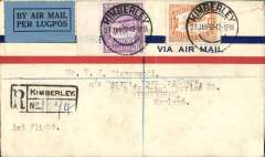 (South Africa) Kimberley-England, no arrival ds, via Johannesburg 27/1, carried on SWAA F/F to Kimberley, then Imperial AW F/F Cape Town-London, via Jo'burg 27/1, plain registered (hs) cover. This cover survived two crashes. The initial carrier was 'City of Basrah' which crashed Salisbury on 28/1, mail then transferred to 'City of Delhi' which crashed at Broken Hill on 29/1. This cover eventually arrived 17/2 from Broken Hill on the second Cape Town-London flight..
