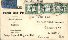 (South Africa) Pretoria-England, no arrival ds, via Johannesburg 27/1, carried on the Imperial AW F/F Cape Town-London service, scarcer Parry, Leon & Hayhoe cover with Imperial Airways wined logo on flap,  This cover survived two crashes. The initial carrier was 'City of Basrah' which crashed Salisbury on 28/1, mail then transferred to 'City of Delhi' which crashed at Broken Hill on 29/1. This cover eventually arrived 17/2 from Broken Hill on the second Cape Town-London flight..
