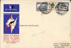 (South Africa) Imperial Airways/Qantas F/F Cape Town to Melbourne, bs 22/12, red/white/blue Kangaroo souvenir cover, correctly rated 1/8d. At that time this was the longest route in the world at close on 16000 miles, via Singapore, Dutch East Indies and Darwin,
