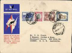 (South Africa) Imperial Airways/Qantas F/F Durban to Sydney, bs 21/12, red/white/blue Kangaroo souvenir cover, correctly rated 1/8d. At that time this was the longest route in the world at close on 16000 miles, via Singapore, Dutch East Indies and Darwin,