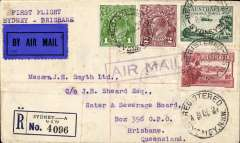 (Australia) Australian National Airways, F/F Sydney to Brisbane, registered (label) cover franked 7 1/2d canc Sydney cds, typed 'First Flight/Sydney-Brisbane', red/white/blue 'arrow' airmail etiquette.