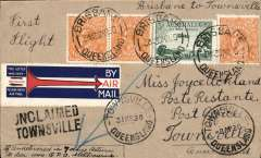 (Australia) Queensland Air Navigation Co, F/F Brisbane toTownsville, 31/3 arrival ds on front, plain cover franked 4 1/2d canc Townsville cds, red/white/blue 'arrow' vignette produced for the ANA Brisbane to Sydney service with 'Sydney' crossed out..