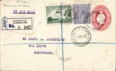(Australia) Queensland Air Navigation Co, F/F Townsville to Brisbane, 1/4 arrival ds, registered (label) 1 1/2d PSE with additional 6d plain cover canc Townsville cds, ms '1st flight/Townsville-Brisbane' .