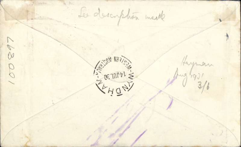 (Australia) Melbourne to Wyndham, carried on F/F WAA Derby-Wyndham extension, airmail etiquette cover franked 4 1/2d. A letter inside reports flown on Adelaide-Perth service, then Perth-Derby service, and finally on the Derby-Wyndham extension. A Wyndham 22/7 cds on front is the likely date of return to sender, as per the ms instruction in lower left hand corner - see scan.