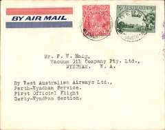 (Australia) F/F Derby to Wyndham to Perth, bs 15/7, franked 4 1/2d, plain cover, typed 'By West Australian Airways Ltd/Perth-Wyndham Service/First Official Flight/Derby-Wyndham Service. Francis Field authentication hs verso.