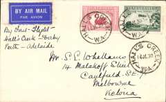 (Australia) Western Australian AW Ltd, F/F Hall's Creek to Derby, and on to Melbourne, bs 25/7, etiquette cover franked 4 1/2d. Francis Field authentication hs verso.