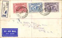 (Australia) FDI Kingsford Smith 2d, 3d &6d on registered (label)  airmail etiquette cover flown Melbourne to Canterbury 21/3, via Sydney 20/3/s, Australian National Airways..