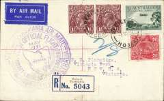 (Tasmania) F/F Hobart to Melbourne, bs 1/5, registered (label) cover franked 8d large violet circular cachet, ANA.