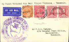 (Australia) Australian National Airways, F/F Perth to Launceston, b/s , airmail etiquette cover franked 5d,  large circular violet flight cachet. Francis Field authentication hs verso.