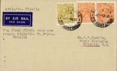 (Australia) Commercial Aviation Co, F/F Adelaide to Whyalla, bs 5/7, airmail etiquette cover franked 5d.