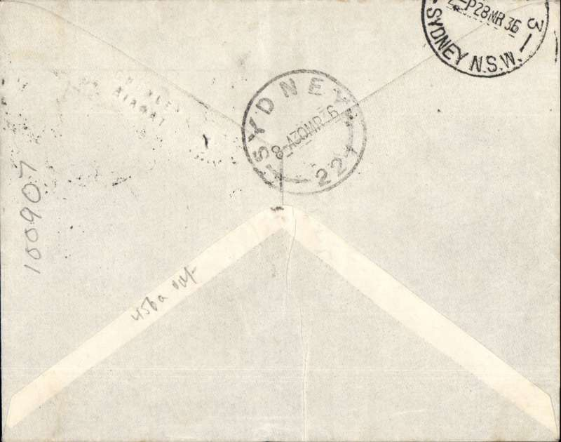 (Australia) WASP Airlines, F/F Dubbo to Sydney, bs 28/3, imprint red/blue airmail etiquette cover franked 4d, typed 'Dubbo-Sydney/1st Flight'. Ironed vertical crease.