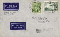 (Australia) Airlines (WA) Ltd, F/F Cue to Perth, signed 7/10 confirmation of arrival ds verso, airmail cover franked 5d. Ironed vertical crease.