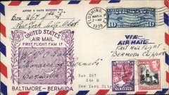 (United States) Baltimore 16/3-Bermuda16 & 17/3- Baltimore17/3, scarce round trip carried both way on Pan Am, airmail cover franked US and Bermuda stamps, official magenta flight cachet, Cat $150 Clark 1990.
