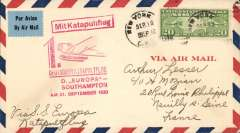 """(Ship to Shore) German N. Atlantic Catapult, first eastbound from Europa, cover to France, black Neuilly cds receiver, franked 20c air, canc New York, red Deutscher Ktapultflug/ D, Europa/Southampton AM 21. September 1930"""" flight cachet, red """"Mit Katapultflug"""" hs, black/green blue etiquette."""