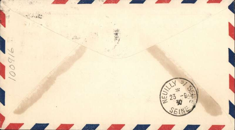 "(Ship to Shore) German N. Atlantic Catapult, first eastbound from Europa, cover to France, black Neuilly cds receiver, franked 20c air, canc New York, red Deutscher Ktapultflug/ D, Europa/Southampton AM 21. September 1930"" flight cachet, red ?Mit Katapultflug"" hs, black/green blue etiquette."
