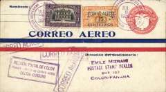 "(Panama) F/F FAM 5, Colon  to Curacao, bs 10/7, boxed purple first flight cachet,"" Correo Aereo"" hs, b/s, air cover, Pan Am."
