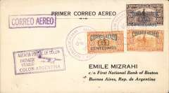 "(Panama) F/F FAM 9 Colon to Buenos Aires, ""Colon-Argentina"" cachet, b/s 19/10 and flown on to Asuncion, b/s 20/10, violet boxed ""Correo Aereo"" hs, Mizrah cover, Pan Am, uncommon."