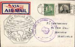 (Puerto Rico) Completing the Lindbergh Circle, first clockwise dispatch on the Lindbergh circle, San Juan to Maturin. large violet Maturin receiver cachet, black octagonal 'Completing the Lindbergh Circle' type F6P flight cachet. Only 17 flown.