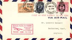 (Panama) Pan Am FAM 5 first 48 hour airmail to New York, F/F Panama City to Miami, bs 2/5, red flight cachet 'Primer Vuelp/Directo/Vuelo Lindenbergh/Panama-Cuba-E.E.U.U.', modified to incorporate a tribute to Lindbergh, pilots Lindbergh and Basil Rowe. Only 8 flown.