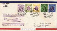 (Hong Kong) Trans Pacific F/F FAM 14, China Clipper, Hong Kong to Honolulu, officia flying boat cachet  b/s May 2, airmail cover, Pan Am