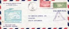 (United States ) F/F FAM 14, San Francisco to Singapore, censored air cover 10x21cm, large green/blue flight cachet, b/s, Pan Am.