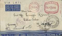 "(Brazil) Brazil to Germany, flown by LATI, censored WWII pale grey/light blue/dark blue LATI publicity envelope, central white imprint Gulls Wing and inscribed ""Via LATI"" and ""LATI Linhas Aereas Transcontinentaes Italianas S.A."", Porto Allegre to Milan, bs, red metre Rs 5400 pmk, sealed Italian censor tape tied by uncommon violet Italian 'Visto Per Censura' censor mark.  Correctly rated for Brazil to Europe by LATI (5000R air fee + 400R basic, see Beith p41). Carried all the way from Rio de Janeiro to Rome by LATI, thus avoiding the British censorship on the Pan Am North Atlantic service."