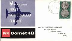 (Greece) F/F Comet 4B, Athens to London, b/s, illustrated souvenir cover,  BEA