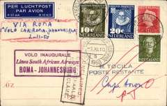 (Netherlands ) First acceptance of mail from Netherlands for carriage on SAA F/F Rome to Johannesburg, bs 6/11, airmail etiquette PC, fine strike framed magenta 'Roma-Jahannesburg' flight cachet. Uncommon. Ironed vertical crease, not visible f rom front.