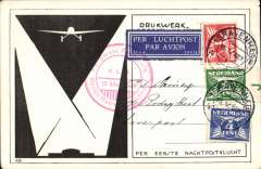 (Netherlands) Aler & Smirnoff KLM first night flight (Berlin)-Rotterdam-London, official red flight cachet front and verso, no arrival ds, black/white souvenir card, franked  7 1/2c.