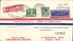 (Netherlands ) KLM F/F Rotterdam to Leipzig, bs 1/5, red/white/blue cover franked 7 1/2c, also red three line 'Mit Luftpost .............Leipzig' receiver, Violet 'DJ Air Express' hs and fine strike Dutch Consulate Leipzig coat of arms verso. Nice item.