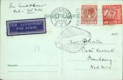 (Netherlands ) KLM first two weekly service, Amsterdam to Bandoeng, 4/10 black diamond receiver de on front, plain PC franked 45c. Francis Field authentication hs verso.