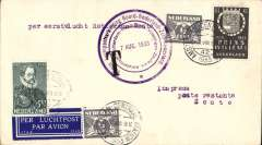 (Netherlands ) SAbena F/F Amsterdam to Knocke,(Zoute), bs Zoute bs 7/8, airmail etiquette cover franked 8 1/2c, fine strike large violet circular 'Amsterdam-Rotterdam-Haamsteede-Vlissingen-Zoute' flight cachet.