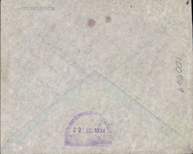 (Netherlands) Snip' Christmas flight Netherlands to Willemstaad, violet 'domed' 22/12 arrival cachet verso,  specially printed souvenir cover franked 122c,  red 'domed' 15/12 depart cachet on front.. The route was Amsterdam-Marseilles-Alicante-Casablanca-Porto Praia- Paramaribo-La Guaira and finally Willemstaad.