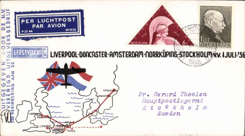 (Netherlands ) KLM F/F Amsterdam to Stockholm, bs 1/7, attractive red/white/blue souvenir cover with route map, franked 7 1/2c.
