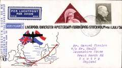 (Netherlands ) KLM F/F Amsterdam to Doncaster, bs  Huddersfield 3/7, attractive red/white/blue souvenir cover with route map, franked 7 1/2c.