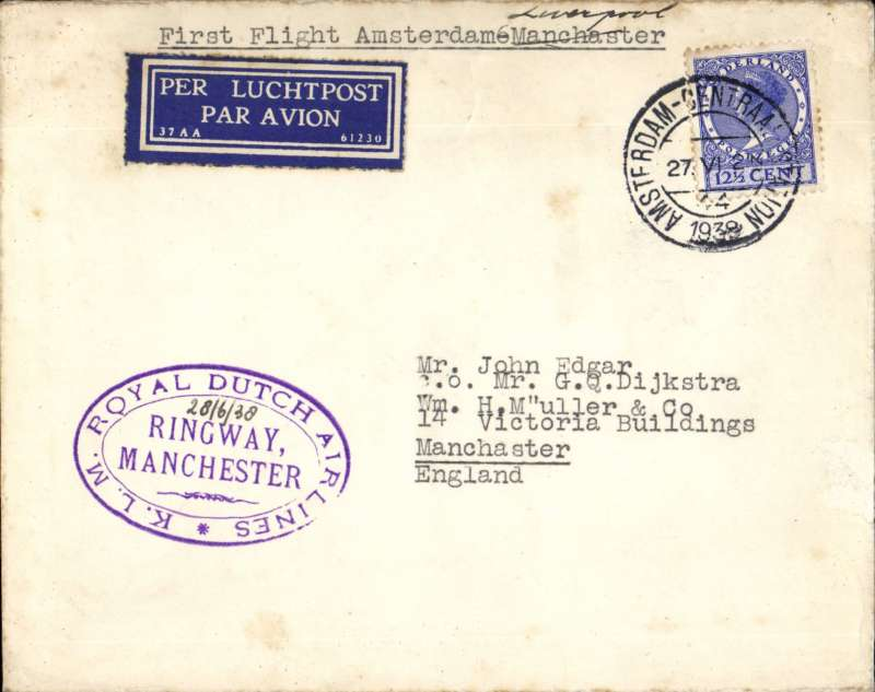"""(Netherlands ) F/F Amsterdam to Manchester, fine strike violet oval """"Royal Dutch Airlines KLM/Ringway Manchester.ms 28/6/38"""" bs 1/7, airmail etiquette cover franked 12 1/2c."""