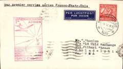 "(Netherlands) Netherlands acceptance for Pan Am F/F FAM 18 Northern Route, Southampton to New York, bs 27/5, via Marseille Gare Avion 25/5, airmail etiquette cover franked 40c, large red framed flight cachet, typed ""Par Premier Service Aerien France-Etats-Unis"". Scarce."